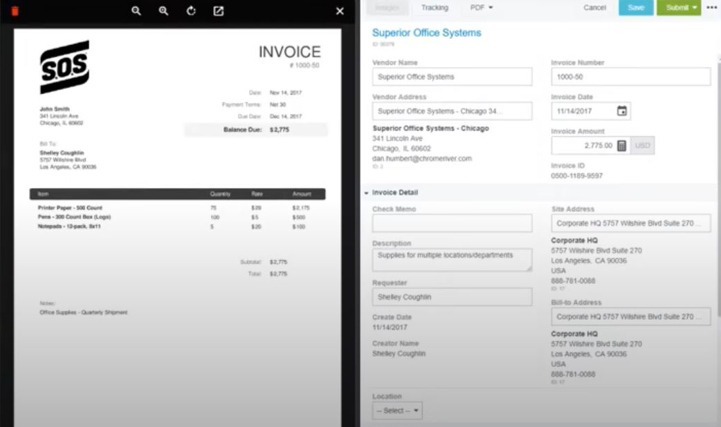 Chrome River INVOICE online payments