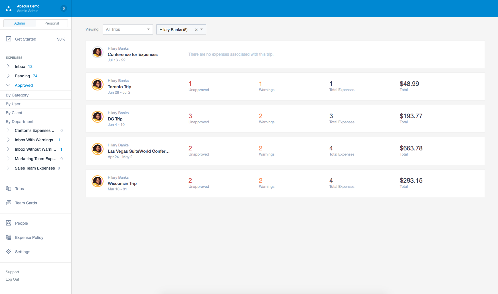 See all of your team's work-related travel in a dashboard that summarizes expenses by Trip.