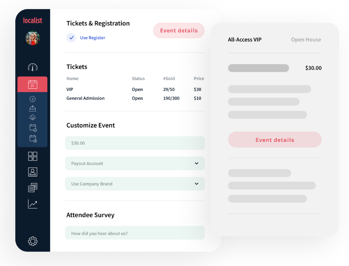 Localist Software - No need for a third-party site. Localist streamlines the registration process with Register, a secure and compliant ticketing tool for paid and free events.
