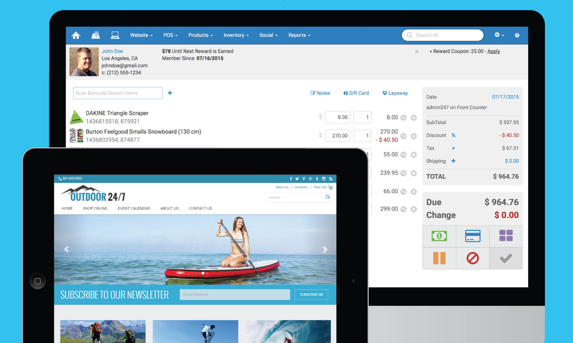 Integrated POS & website