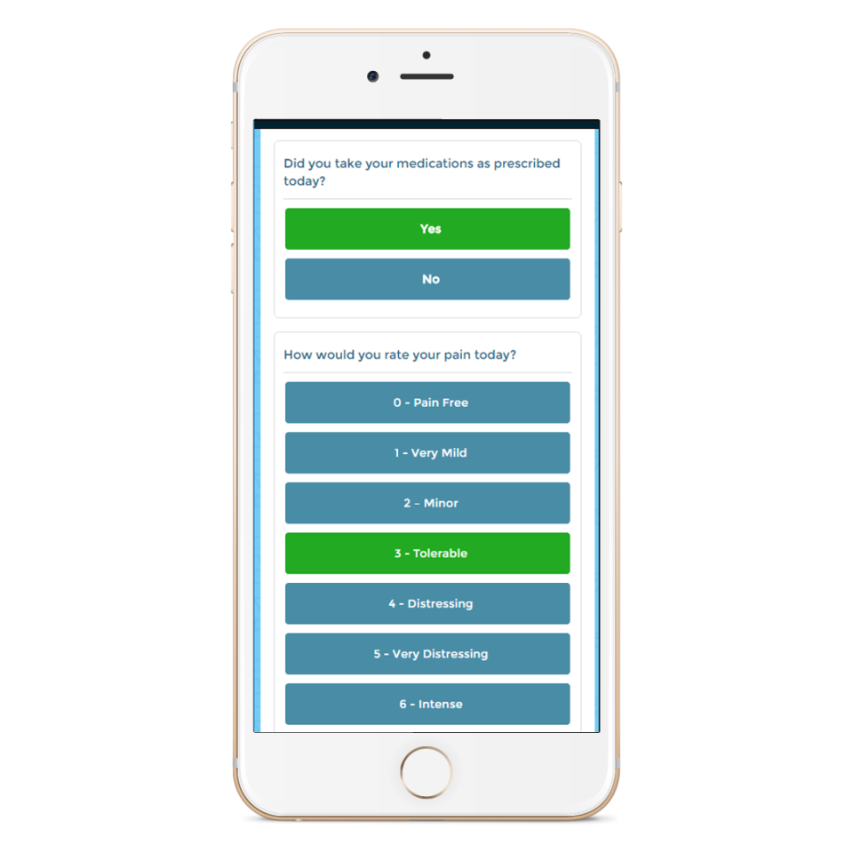 Capture, record and monitor patient health feedback such as prescription habits and general symptoms such as daily pain ratings