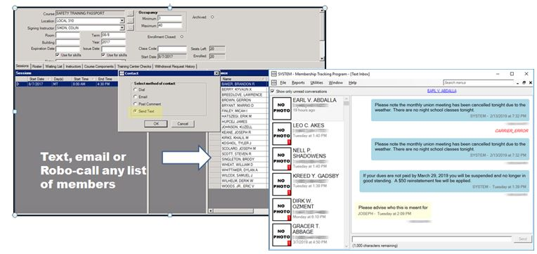 Membership Tracking Program (MTP) screenshot: Text, Email or robo-call members in MTP