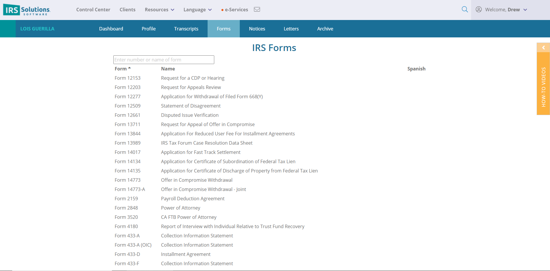 IRS Forms populated.