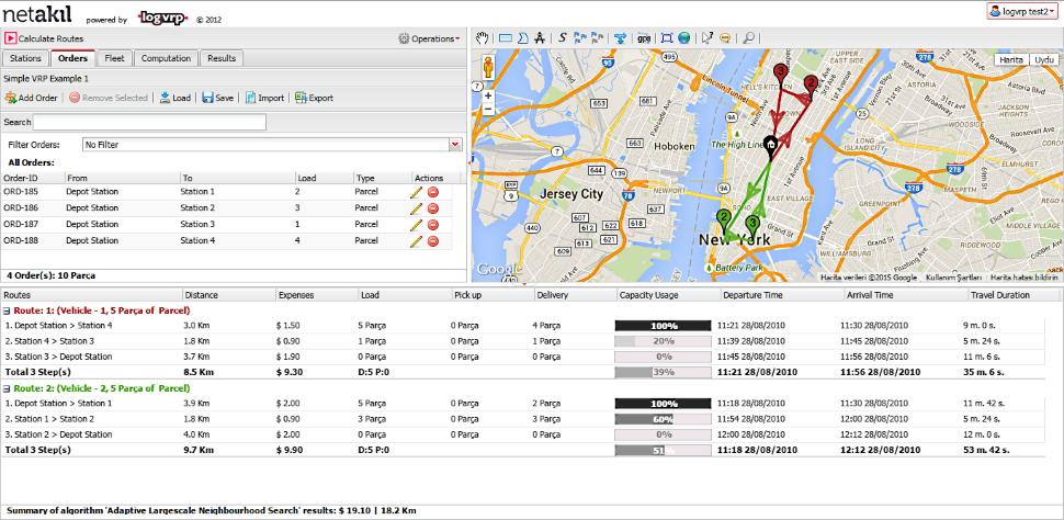 logvrp Software - Alternative routing