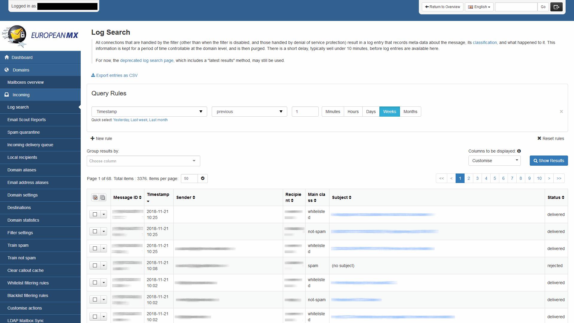 EuropeanMX Software - Logs