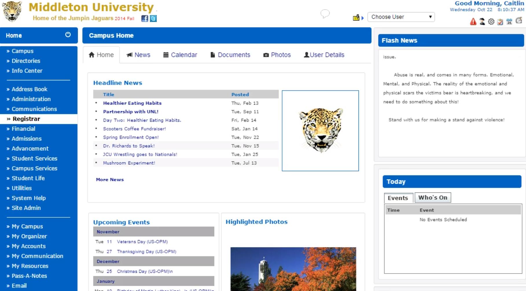 Sycamore Campus main interface