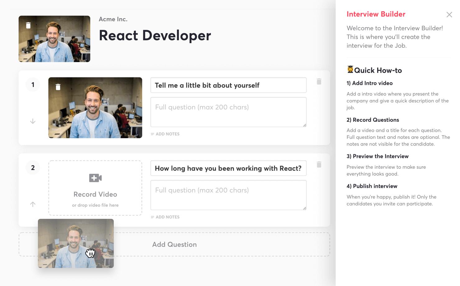 Hireflix interview builder