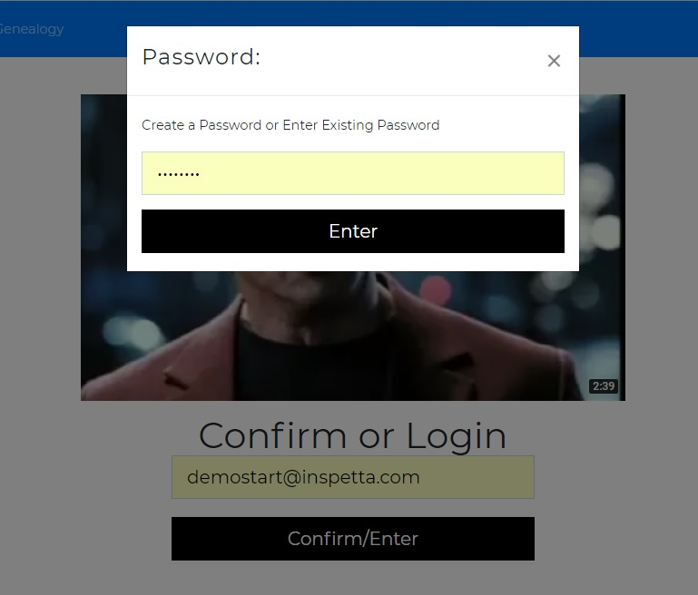 Inspetta MLM Software login page
