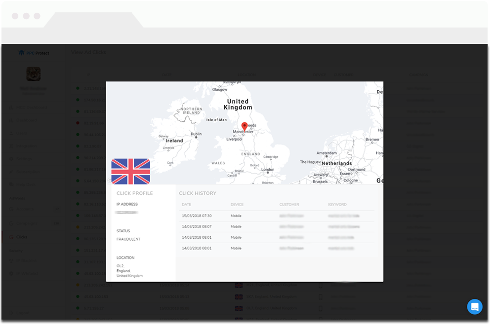 PPC Protect details the location, click profile and click history for a fraudulent click from a given IP address