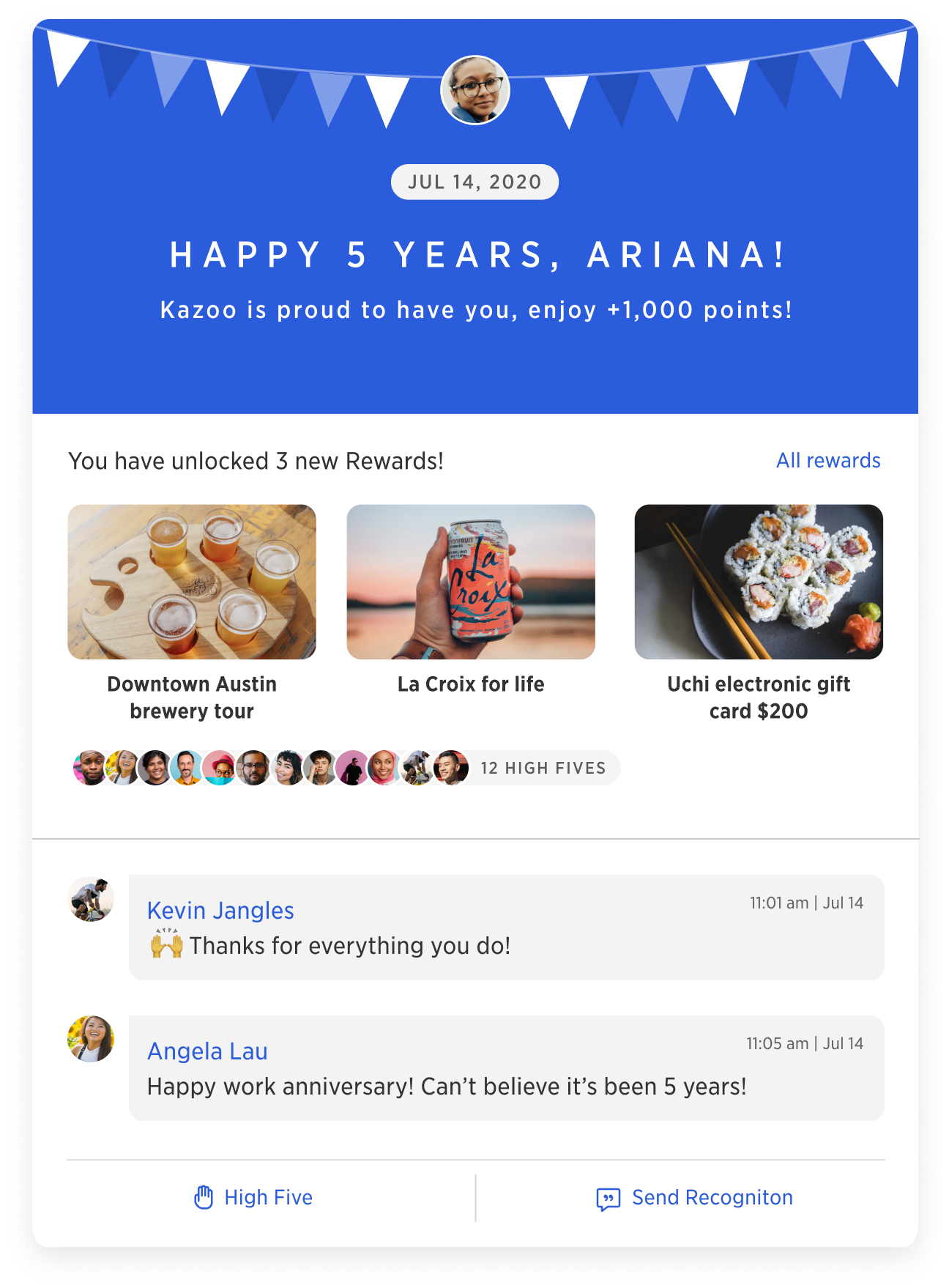 Automated celebration recognitions ensure employees feel extra appreciated on their special days. Whether work anniversaries or birthdays, employees can quickly see the number of occasions to celebrate, and can send anniversary or birthday recognitions.