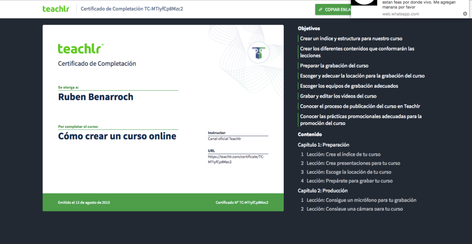Teachlr Organizations Software - Certificados