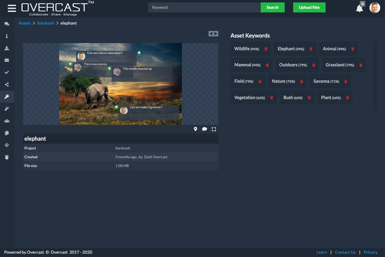 Overcast Video Management — keywords page