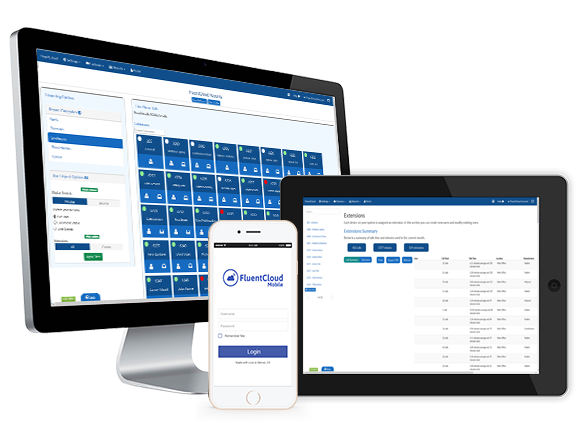 FluentStream screenshot: FluentStream's Business Phone System works on many devices with a fully-configurable, feature-rich VoIP business phone system.