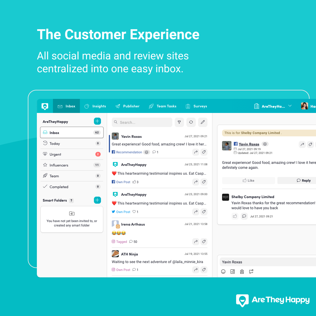 AreTheyHappy inbox for reviews, social media mentions and DMs