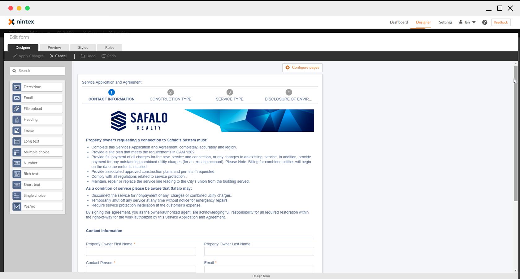 Web form creation