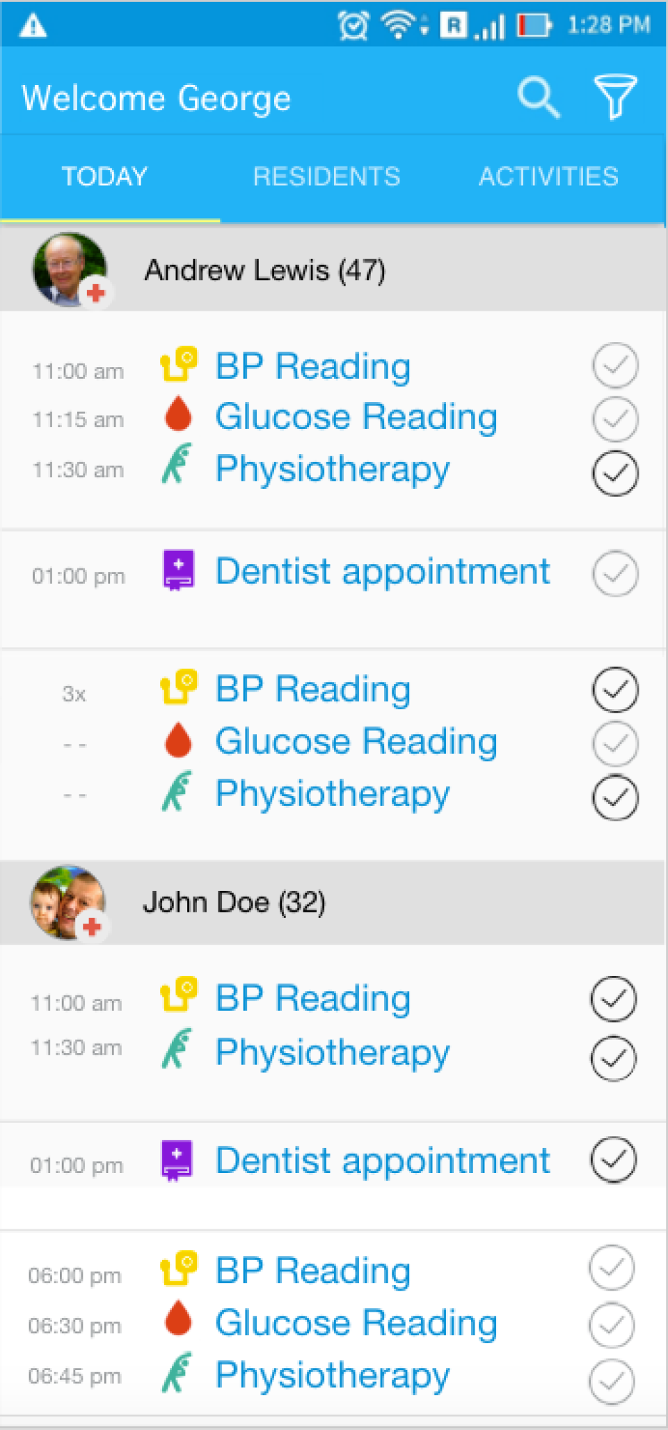 View all tasks for the day for each patient