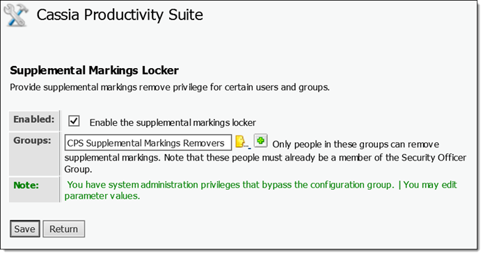 Content Suite Security and Productivity Pack Supplemental Markings Locker