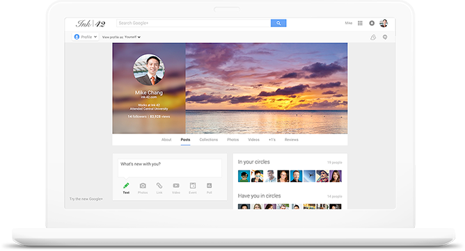 Share ideas and collaborate with coworkers using Google+