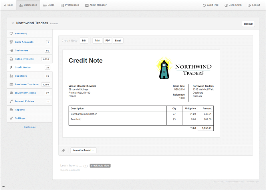 Manager Software - Credit notes