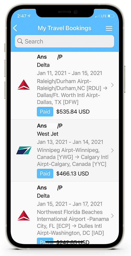 Mobile App Travel Booking