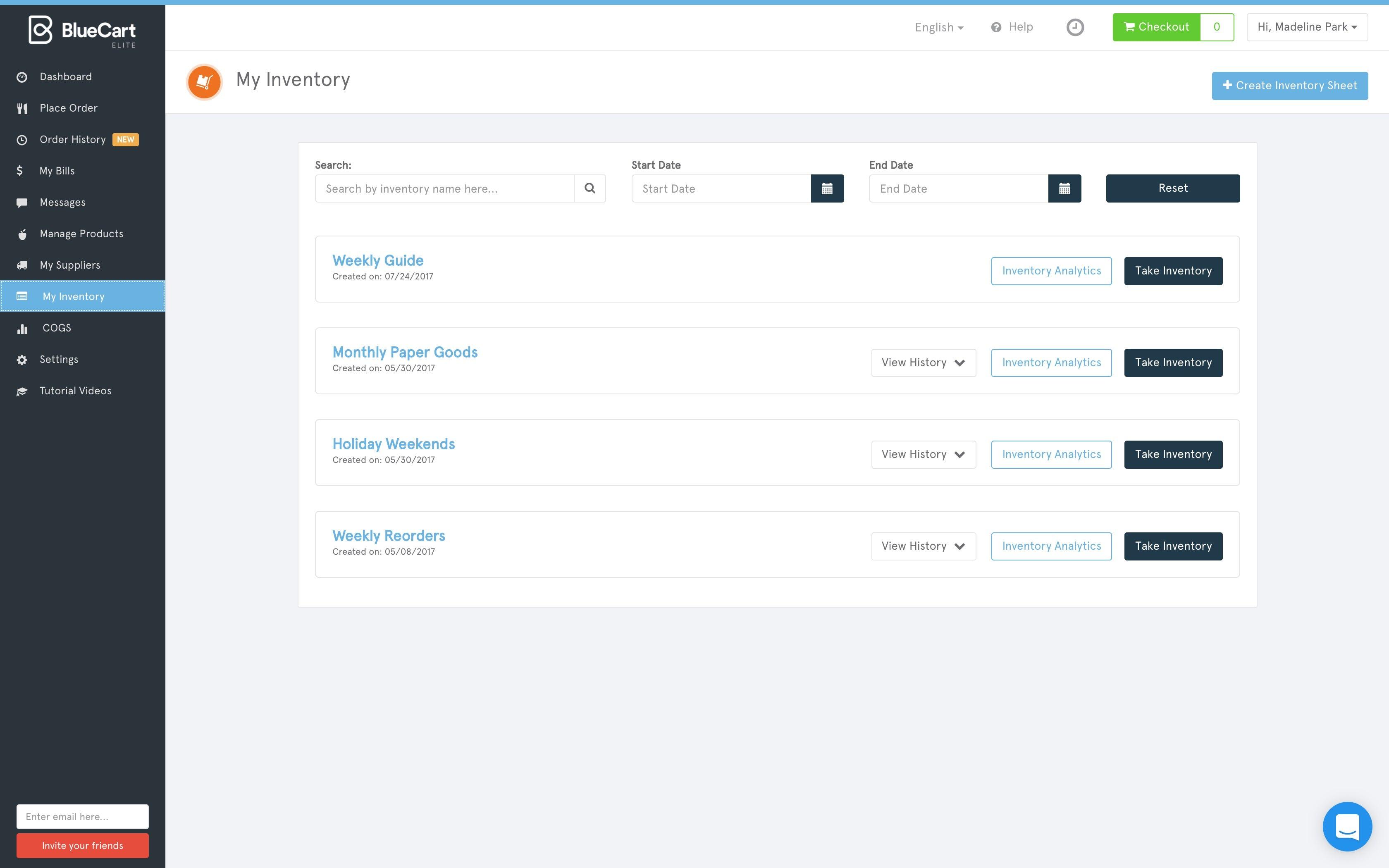 BlueCart Software - Inventory