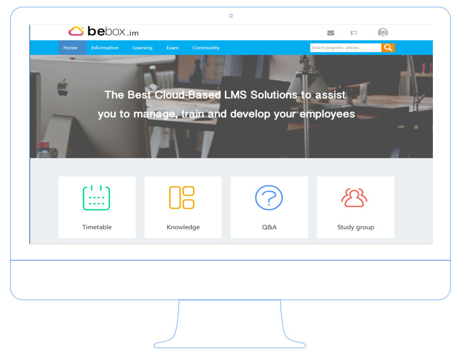 Bebox Mobile screenshot: Learner login and available functions