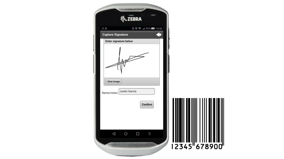 Electronic signatures can be captured and barcodes can be scanned on mobile devices