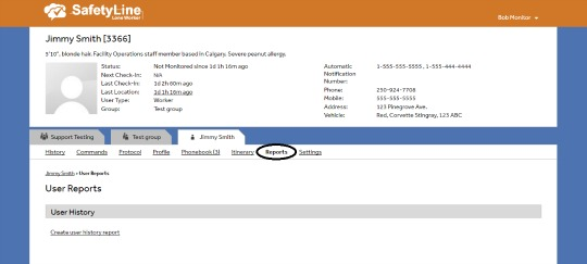 SafetyLine Lone Worker user reports