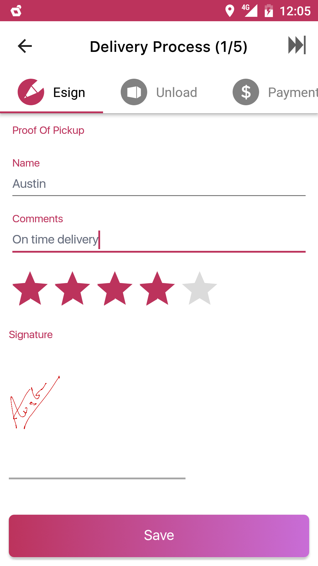 Delivery details and proof of delivery capturing process