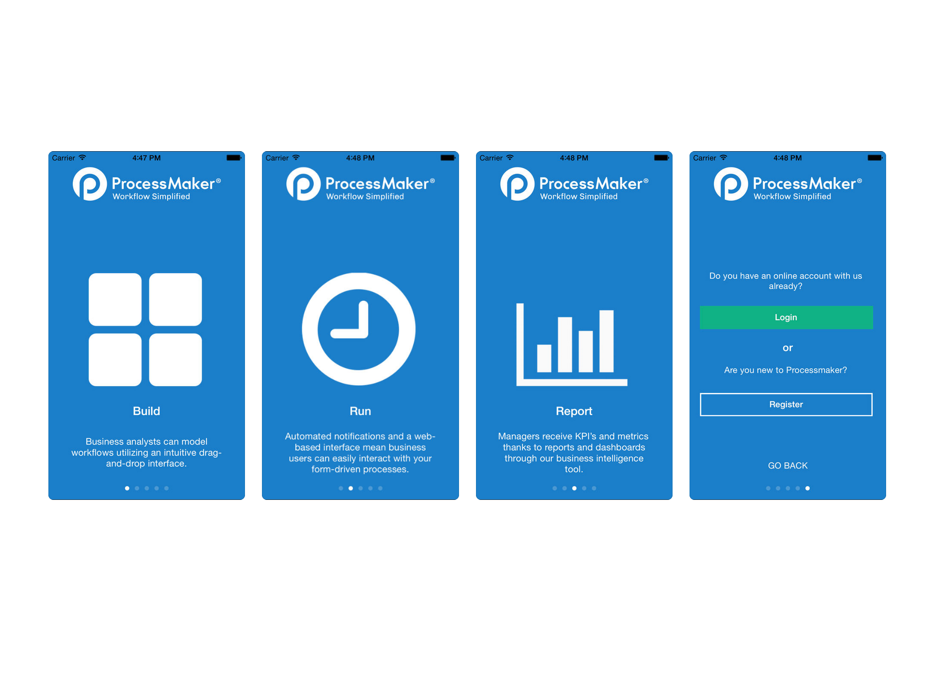 ProcessMaker app for iOS and Android devices promises on or offline functionality, plus mobilized features across running processes, building forms and viewing dashboard reports while on the move