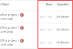 TMetric screenshot: Detailed report time duration