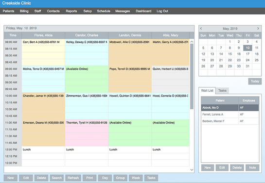 HealthBiller screenshot: It allows users to view scheduled appointments and waitlists