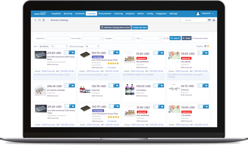Ivalua Software - Create a searchable online catalog to manage products and services