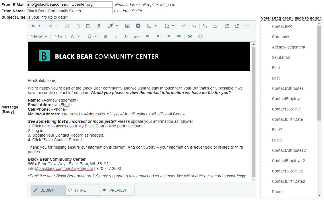 DonorSnap mass email screenshot