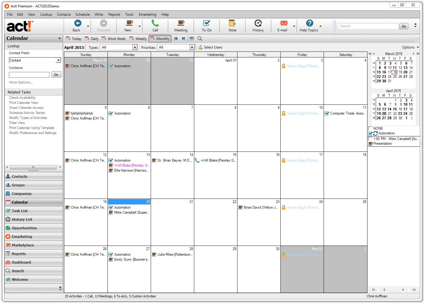 Act! Software - Calendar view