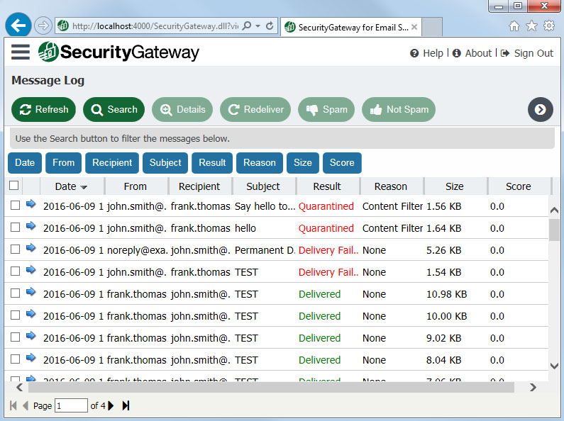 Security Gateway by MDaemon message logs