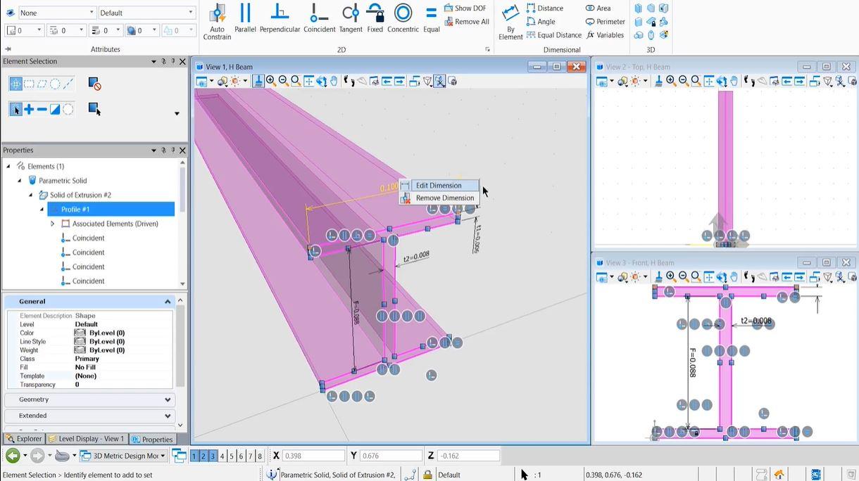 MicroStation screenshot: MicroStation dimensions