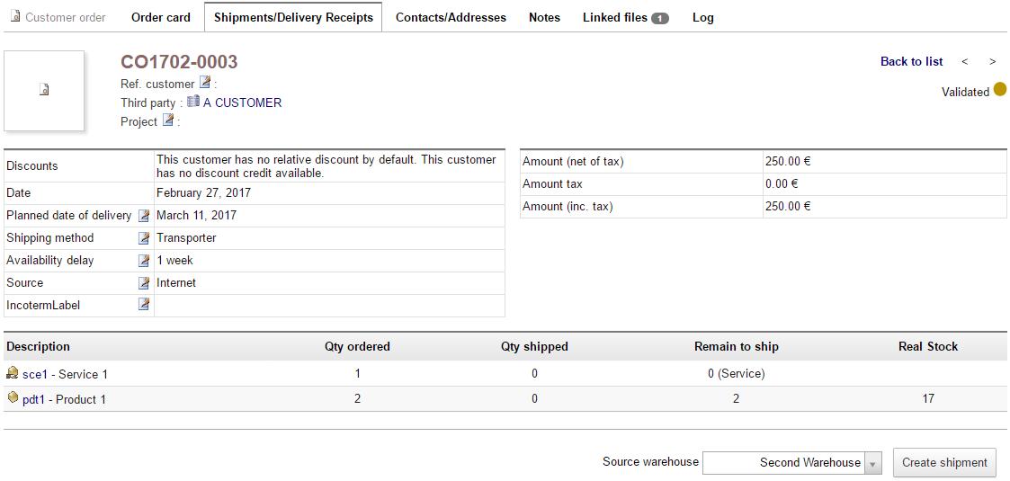 Dolibarr shipment management