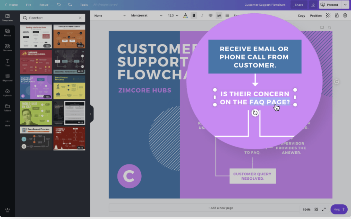 Canva create flowchart