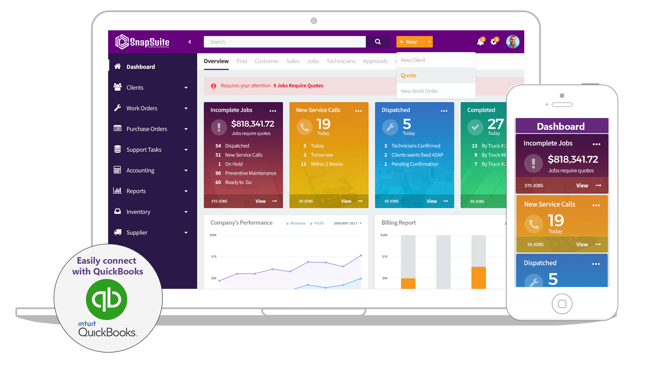 Snapsuite dashboard