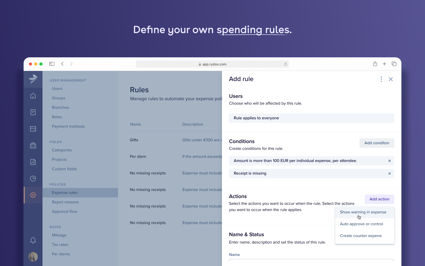 Define your spending rules