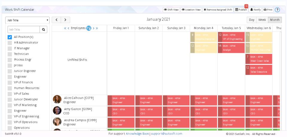 SutiHR Software - Shift Scheduling