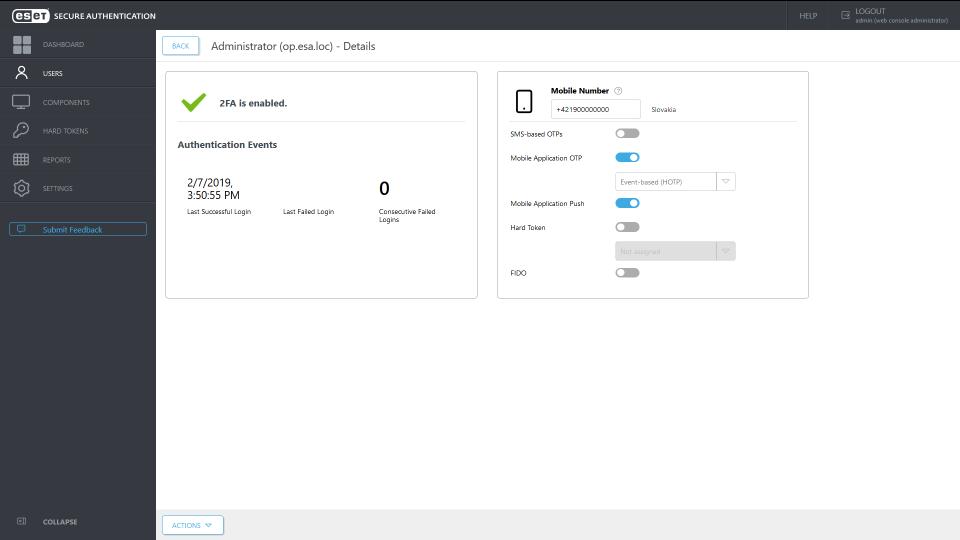ESET Secure Authentication admin settings