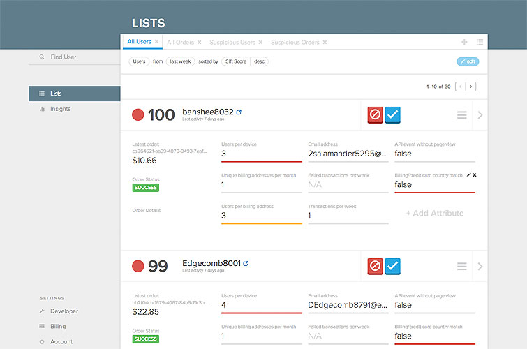 View summarized order details and user attributes in a List