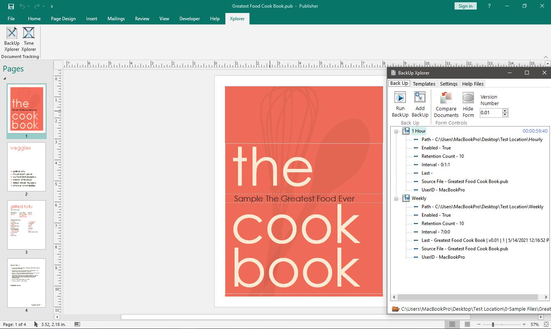 Task pane with Backup Xplorer shown in Microsoft Publisher.