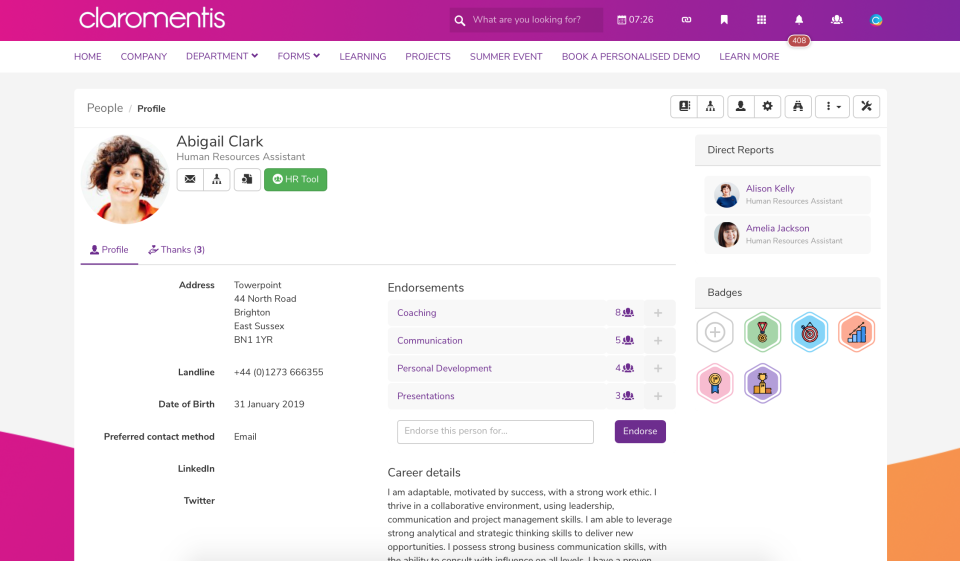 User profile, showing contact info, endorsements by coworkers, and badges