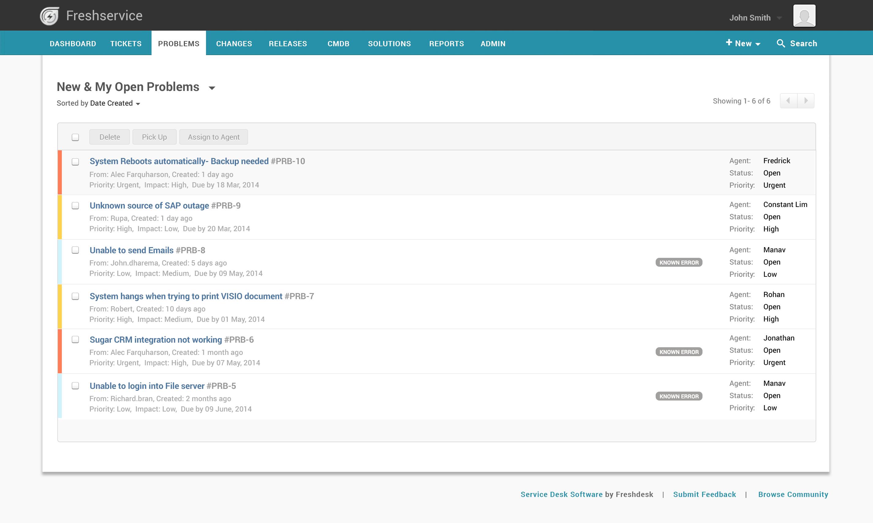 Freshservice Software - Freshservice problem management
