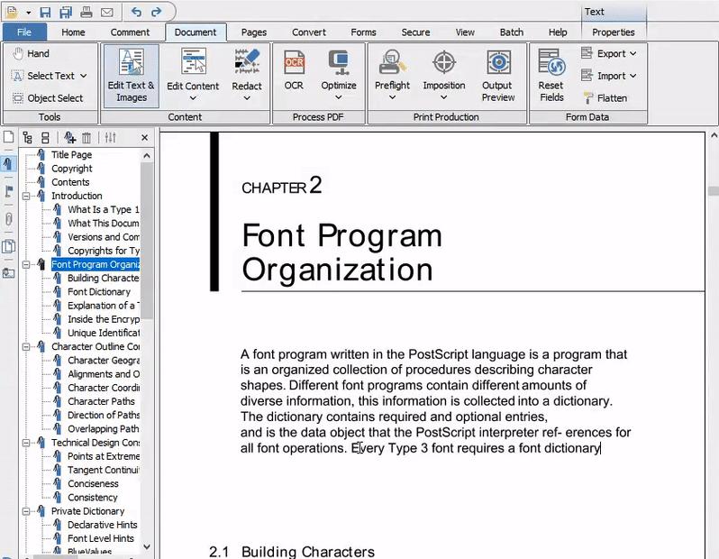 PDF Studio - inline text editing