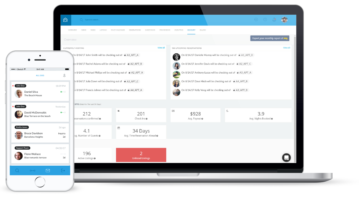 Guesty screenshot: One place for professional property management companies to organize and manage all listings, communicate with clients and more.