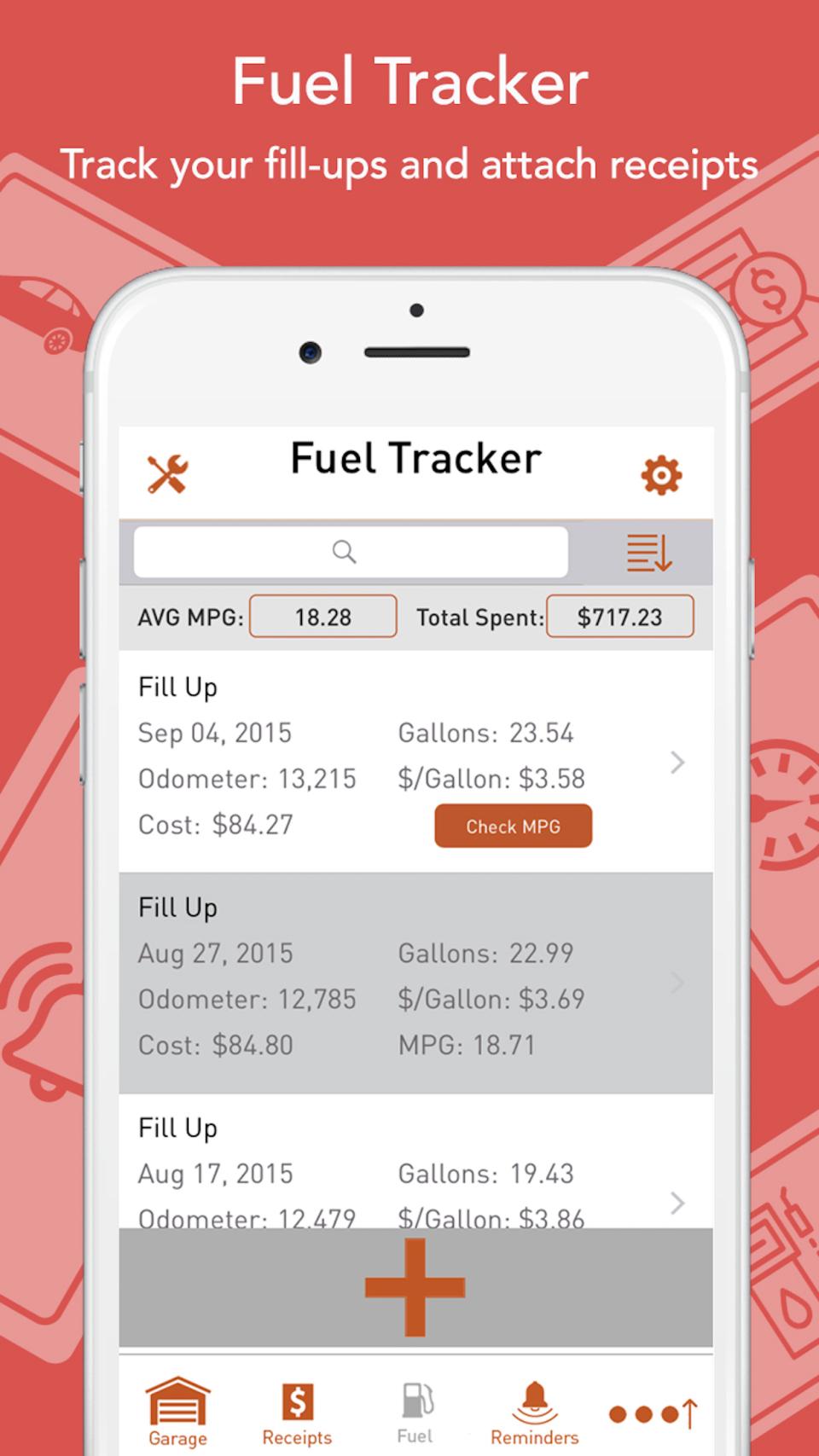 Track fuel & monitor MPG